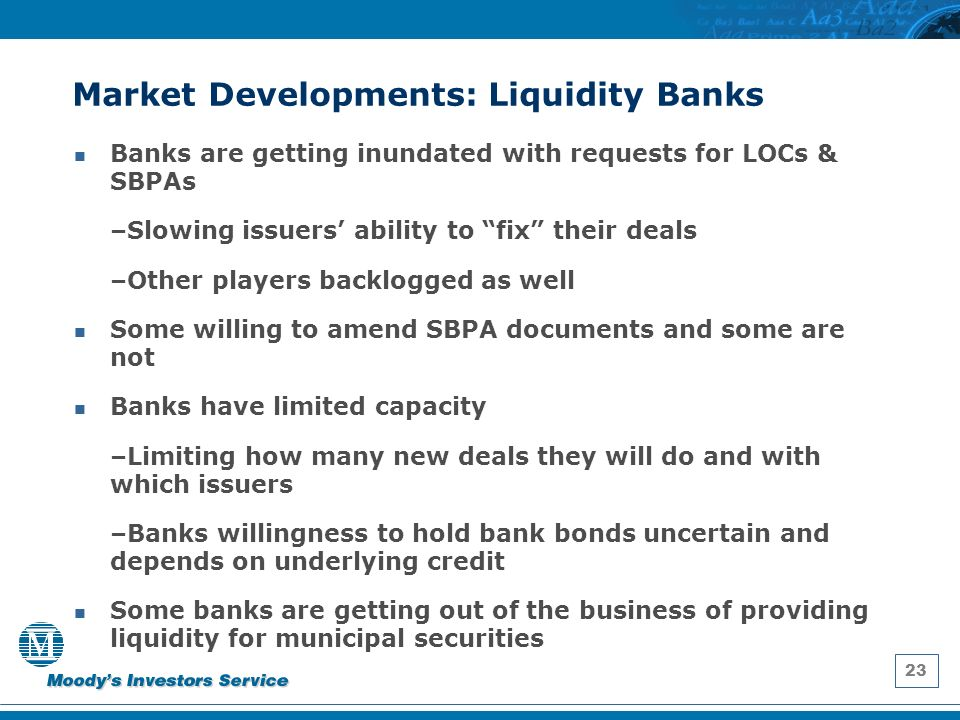 23 Market Developments: Liquidity Banks Banks are getting inundated with requests for LOCs & SBPAs –Slowing issuers ability to fix their deals –Other players backlogged as well Some willing to amend SBPA documents and some are not Banks have limited capacity –Limiting how many new deals they will do and with which issuers –Banks willingness to hold bank bonds uncertain and depends on underlying credit Some banks are getting out of the business of providing liquidity for municipal securities