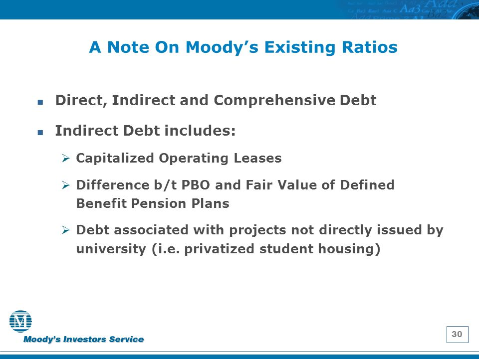 30 A Note On Moodys Existing Ratios Direct, Indirect and Comprehensive Debt Indirect Debt includes: Capitalized Operating Leases Difference b/t PBO and Fair Value of Defined Benefit Pension Plans Debt associated with projects not directly issued by university (i.e.
