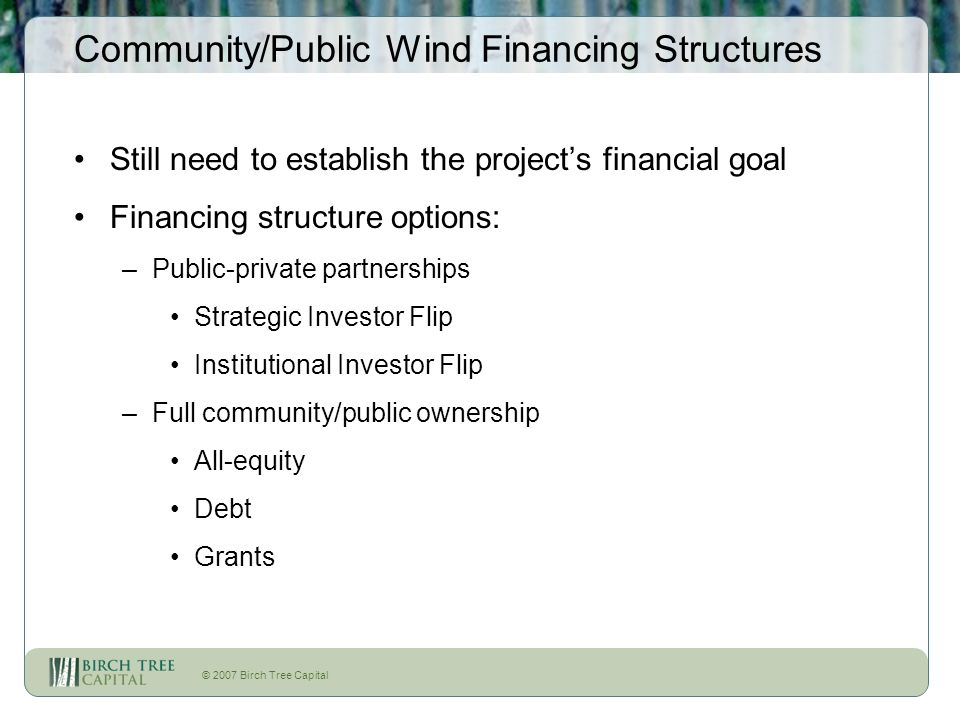 © 2007 Birch Tree Capital Community/Public Wind Financing Structures Still need to establish the projects financial goal Financing structure options: