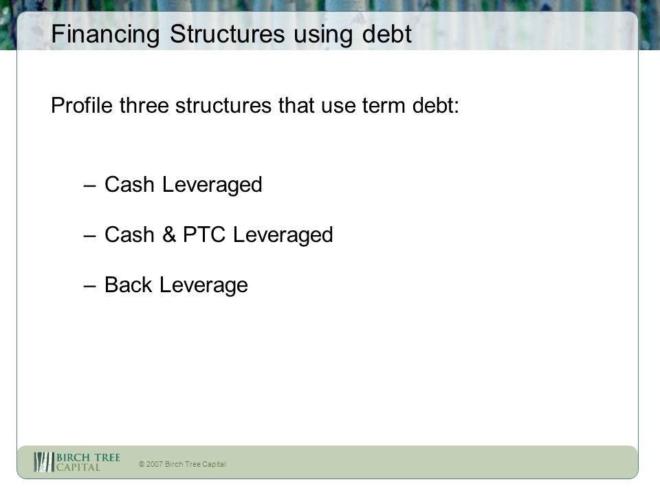 © 2007 Birch Tree Capital Financing Structures using debt Profile three structures that use term debt: –Cash Leveraged –Cash & PTC Leveraged –Back Lev