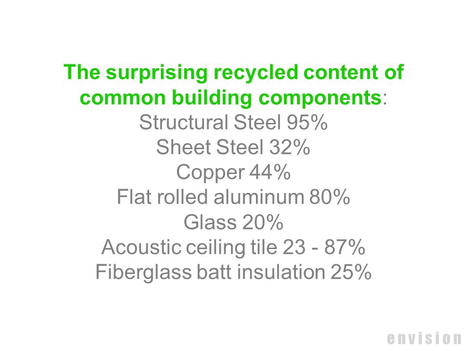 e n v i s i o n The surprising recycled content of common building components: Structural Steel 95% Sheet Steel 32% Copper 44% Flat rolled aluminum 80