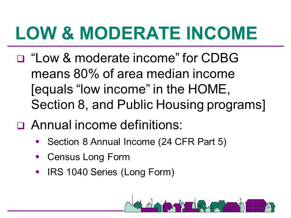 LOW/MOD BENEFIT HOUSING q To meet the national objective, housing structures must be occupied by low/mod households One unit structures occupied by low/mod household One unit of duplex occupied by low/mod household 51% of 3+ units occupied by low/mod household q Aggregation allowed in some instances q Reg cite §570.208