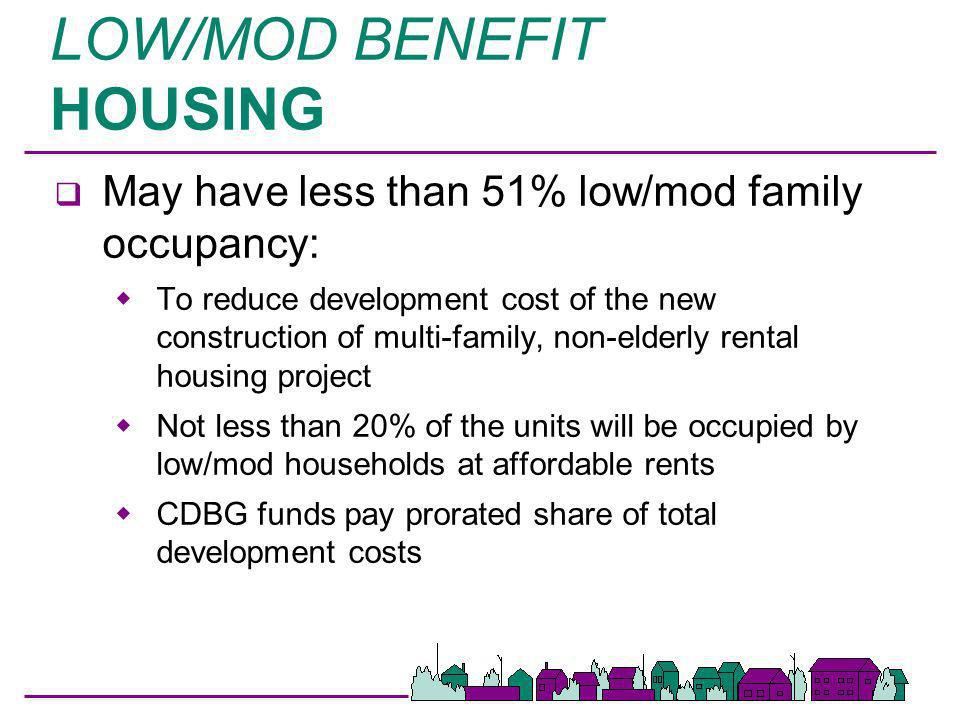 LOW/MOD BENEFIT HOUSING q Rents charged -- affordable rents q Grantee must adopt and make public its standards for determining affordable rents q Reg cite §570.208