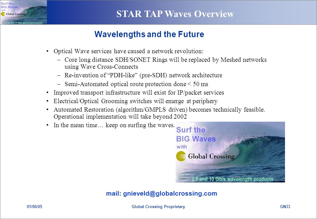 STAR TAP Waves Overview 01/06/05GN33Global Crossing Proprietary Wavelengths and the Future Optical Wave services have caused a network revolution: –Core long distance SDH/SONET Rings will be replaced by Meshed networks using Wave Cross-Connects –Re-invention of PDH-like (pre-SDH) network architecture –Semi-Automated optical route protection done < 50 ms Improved transport infrastructure will exist for IP/packet services Electrical/Optical Grooming switches will emerge at periphery Automated Restoration (algorithm/GMPLS driven) becomes technically feasible.