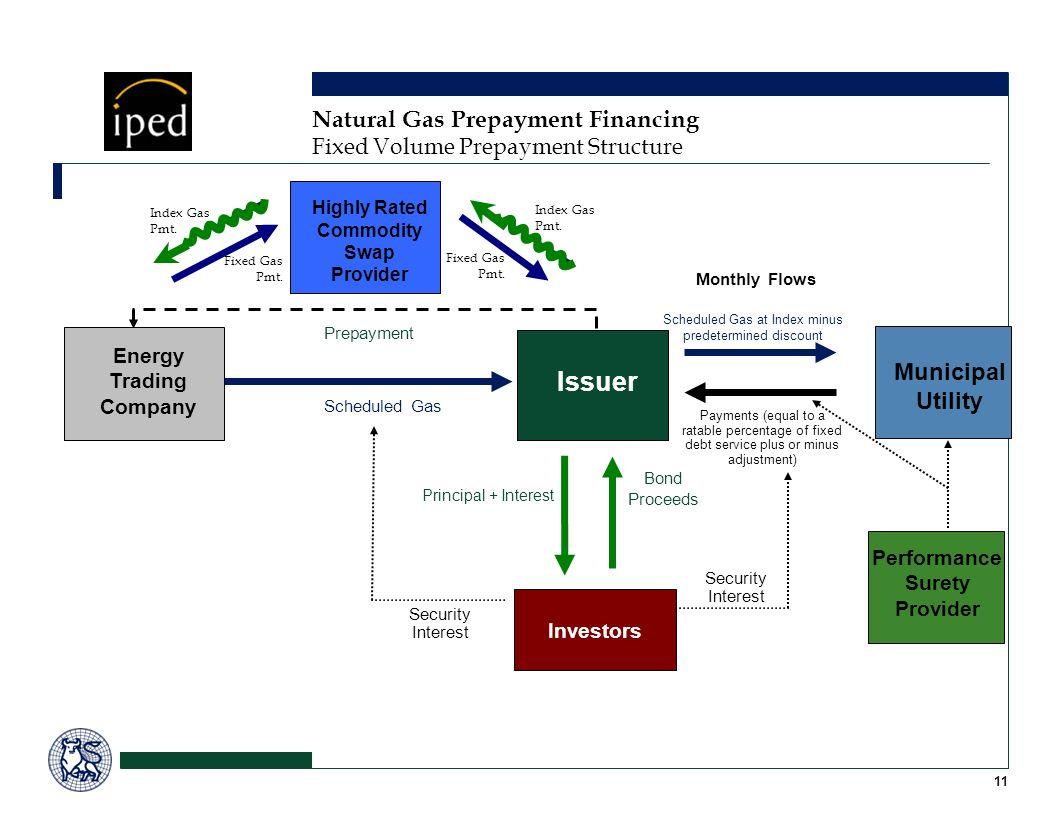 11 Natural Gas Prepayment Financing Fixed Volume Prepayment Structure Investors Bond Proceeds Principal + Interest Prepayment Scheduled Gas Monthly Fl