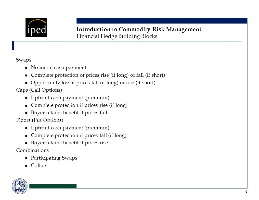 Introduction to Commodity Risk Management Financial Hedge Building Blocks Swaps No initial cash payment Complete protection of prices rise (if long) or fall (if short) Opportunity loss if prices fall (if long) or rise (if short) Caps (Call Options) Upfront cash payment (premium) Complete protection if prices rise (if long) Buyer retains benefit if prices fall Floors (Put Options) Upfront cash payment (premium) Complete protection if prices fall (if long) Buyer retains benefit if prices rise Combinations Participating Swaps Collars 6