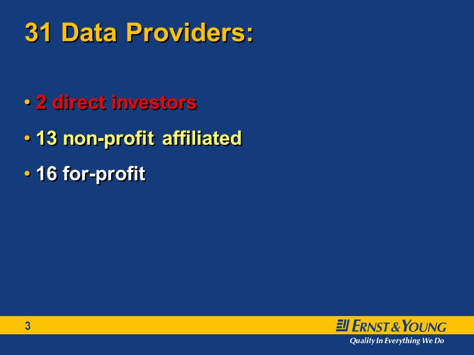 3 31 Data Providers: 2 direct investors 13 non-profit affiliated 16 for-profit 2 direct investors 13 non-profit affiliated 16 for-profit