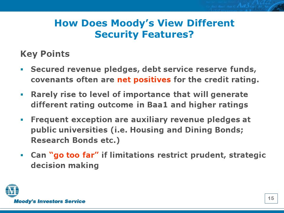 15 How Does Moodys View Different Security Features.