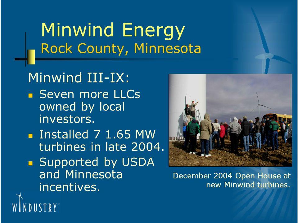 Minwind Energy Rock County, Minnesota Minwind III-IX: Seven more LLCs owned by local investors.