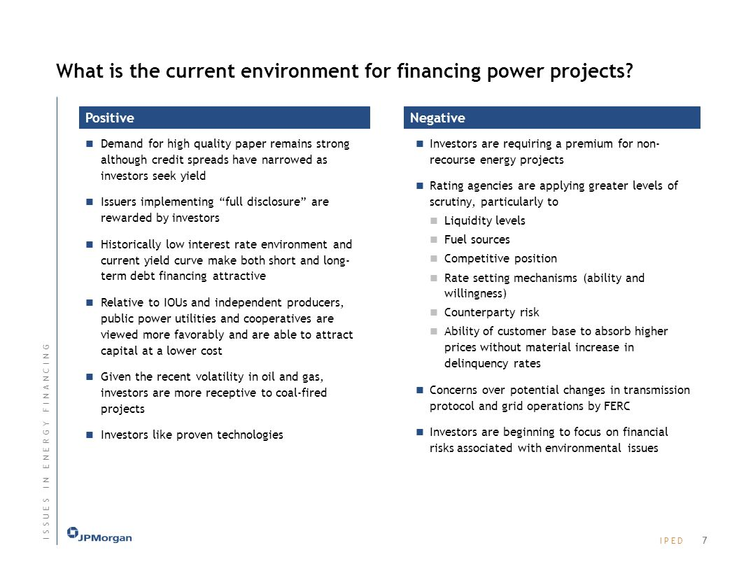I P E DI P E D What is the current environment for financing power projects.
