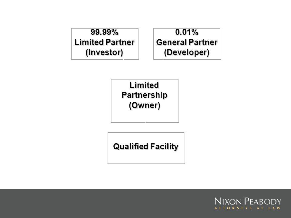 99.99% Limited Partner (Investor)0.01% General Partner (Developer) Limited Partnership (Owner) Qualified Facility