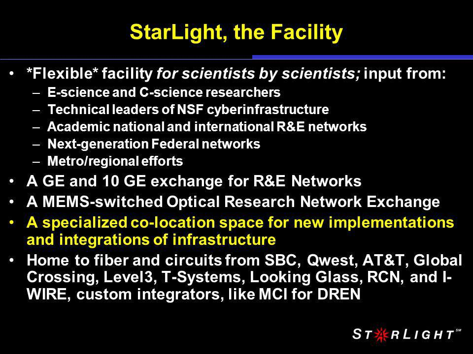 StarLight, the Facility *Flexible* facility for scientists by scientists; input from: –E-science and C-science researchers –Technical leaders of NSF cyberinfrastructure –Academic national and international R&E networks –Next-generation Federal networks –Metro/regional efforts A GE and 10 GE exchange for R&E Networks A MEMS-switched Optical Research Network Exchange A specialized co-location space for new implementations and integrations of infrastructure Home to fiber and circuits from SBC, Qwest, AT&T, Global Crossing, Level3, T-Systems, Looking Glass, RCN, and I- WIRE, custom integrators, like MCI for DREN