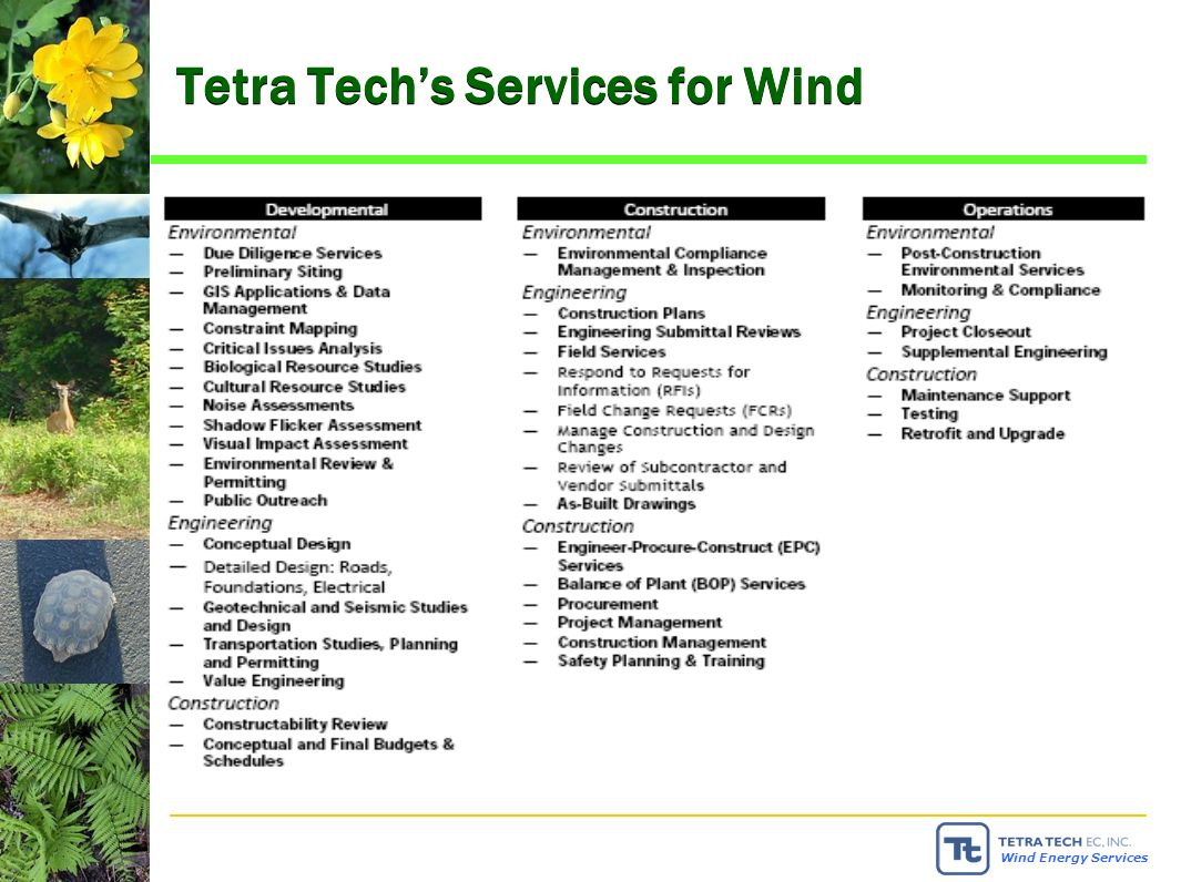 Wind Energy Services Tetra Techs Services for Wind