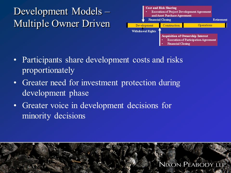 Development Models – Multiple Owner Driven Participants share development costs and risks proportionately Greater need for investment protection durin