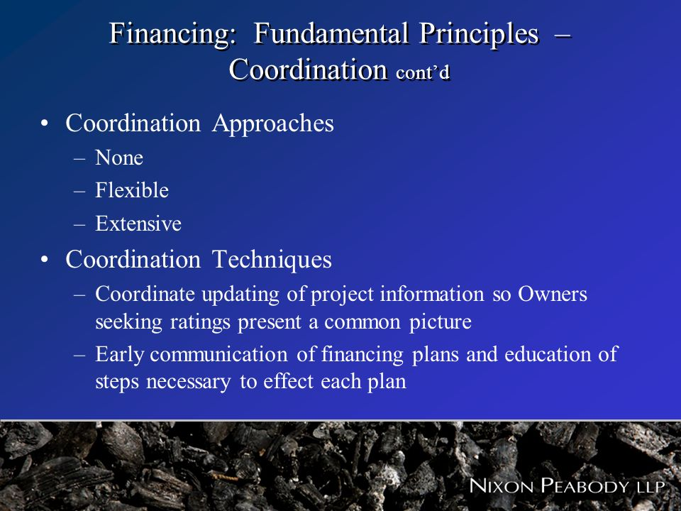 Financing: Fundamental Principles – Coordination contd Coordination Approaches –None –Flexible –Extensive Coordination Techniques –Coordinate updating