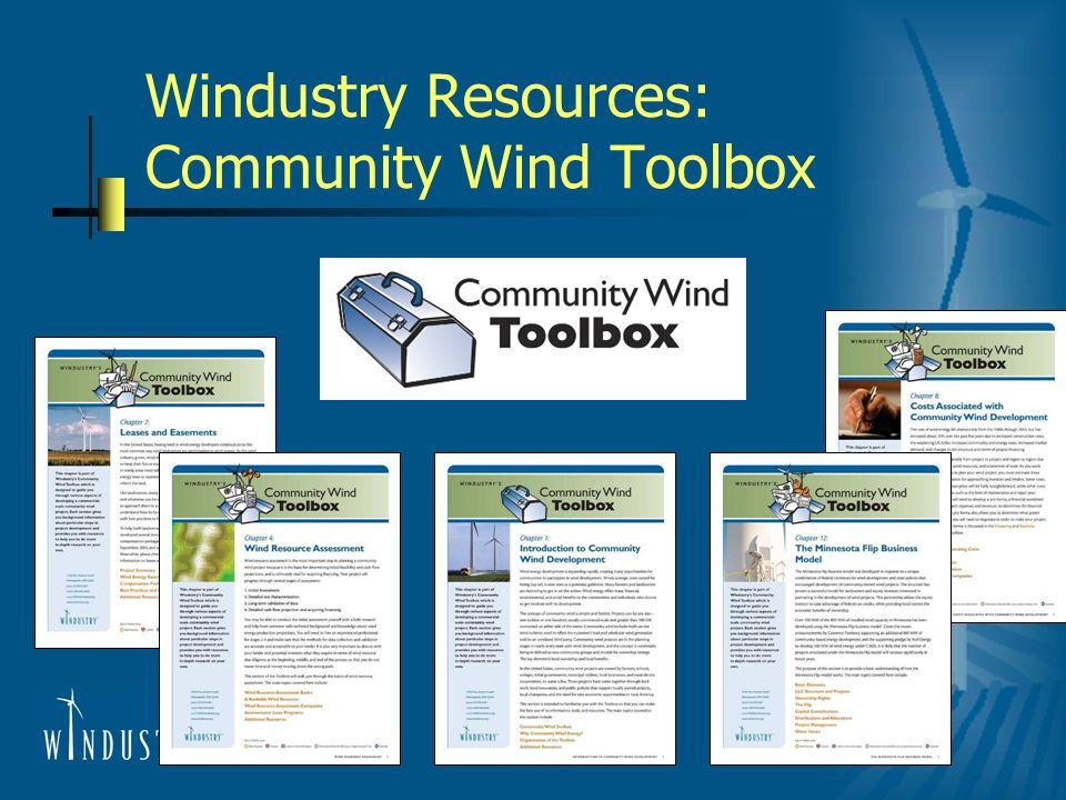 Windustry Resources: Community Wind Toolbox