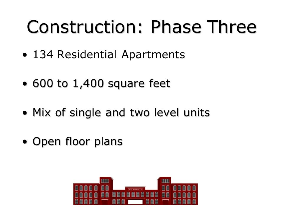 Construction: Phase Three 134 Residential Apartments 600 to 1,400 square feet600 to 1,400 square feet Mix of single and two level unitsMix of single a