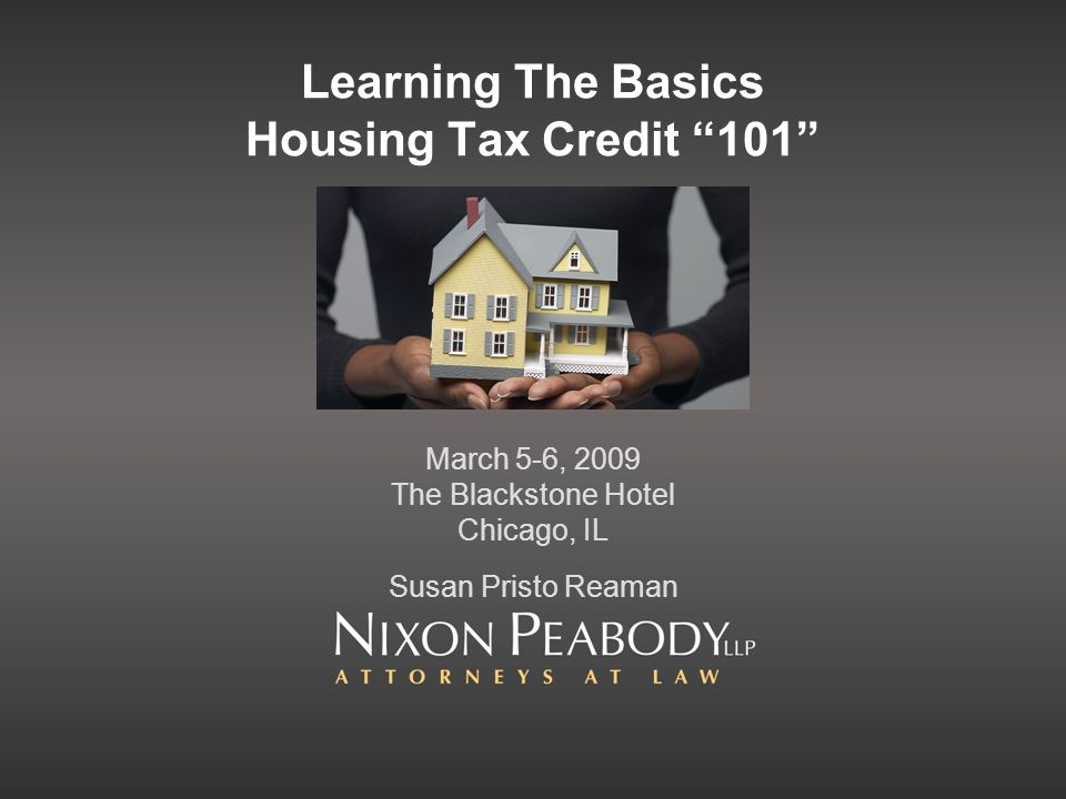 Learning The Basics Housing Tax Credit 101 March 5-6, 2009 The Blackstone Hotel Chicago, IL Susan Pristo Reaman