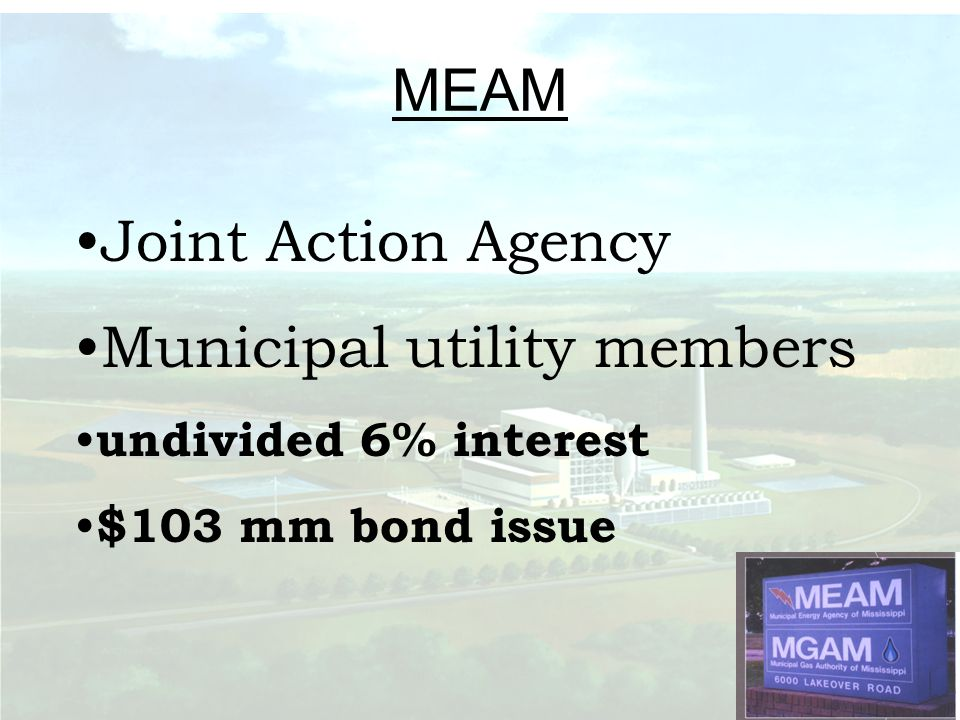 MEAM Joint Action Agency Municipal utility members undivided 6% interest $103 mm bond issue
