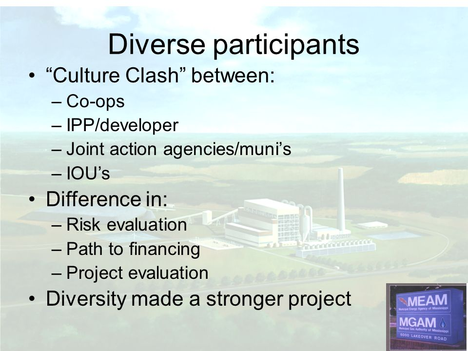 Culture Clash between: –Co-ops –IPP/developer –Joint action agencies/munis –IOUs Difference in: –Risk evaluation –Path to financing –Project evaluation Diversity made a stronger project Diverse participants