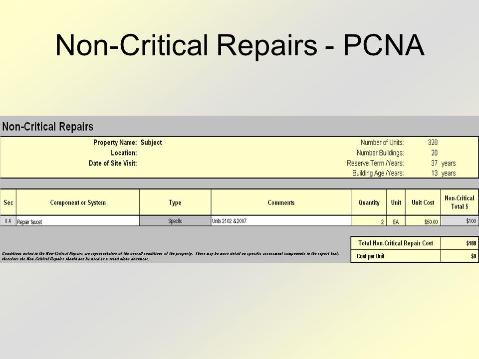 Non-Critical Repairs - PCNA