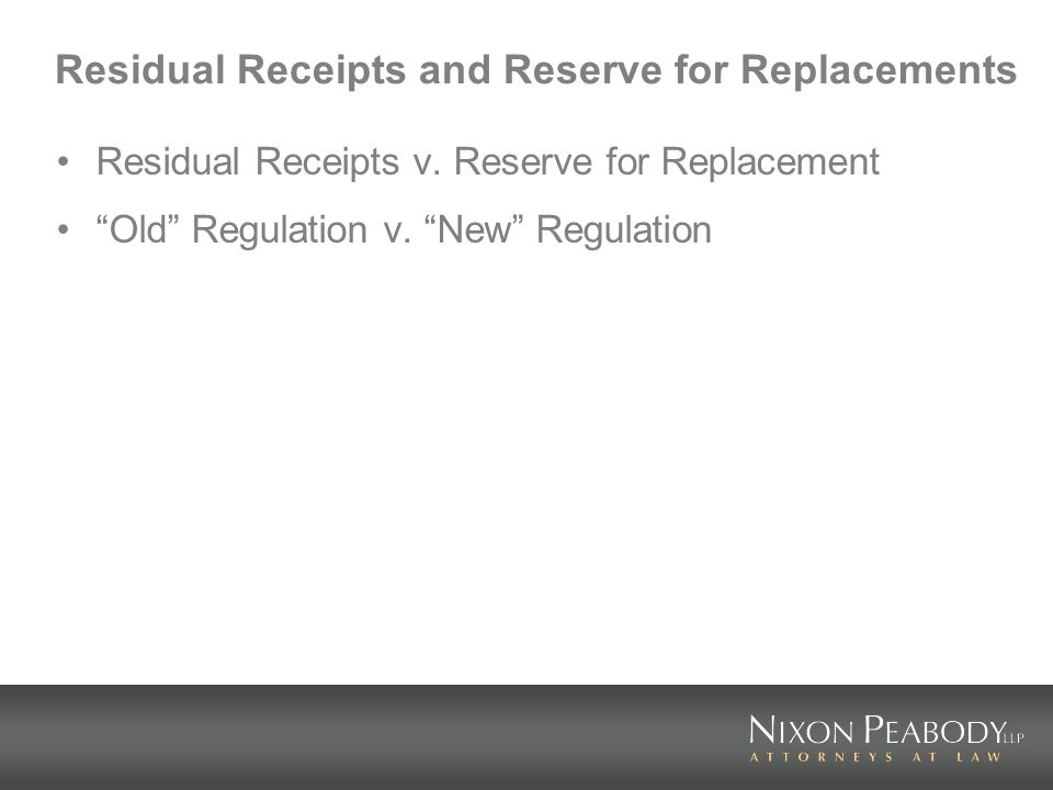Residual Receipts and Reserve for Replacements Residual Receipts v.