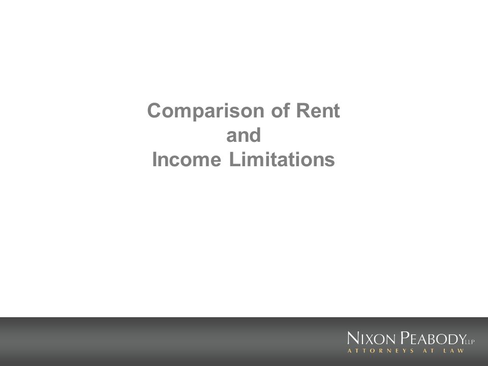 Comparison of Rent and Income Limitations