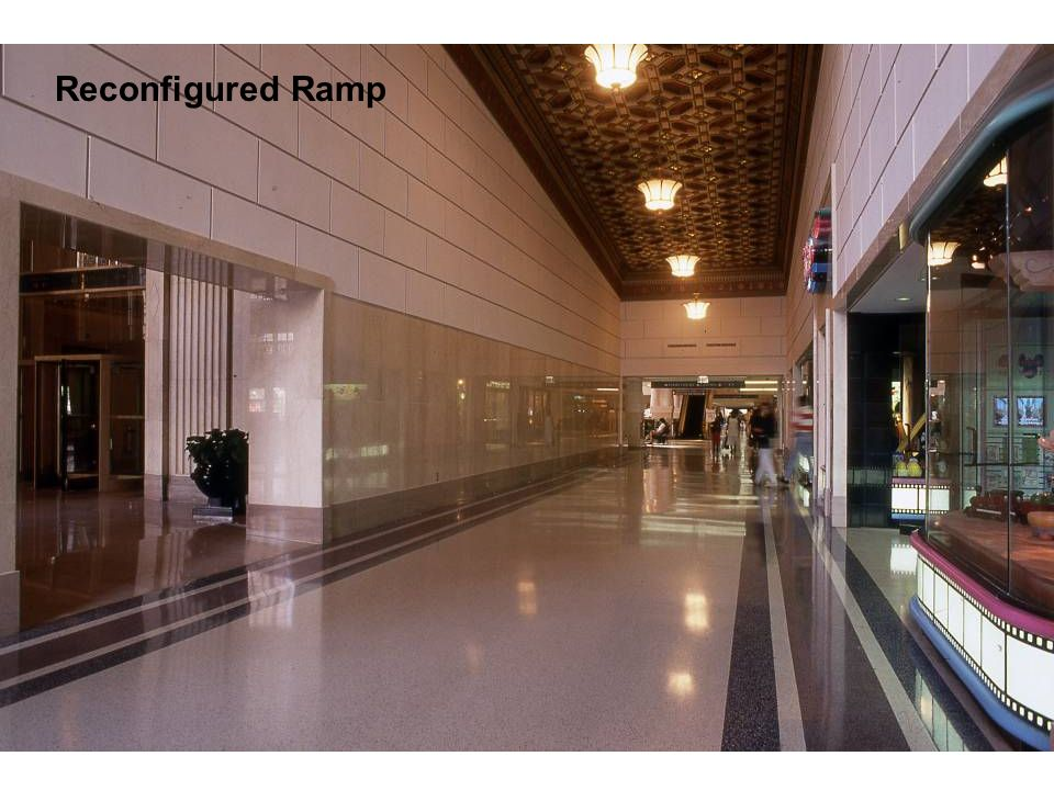 A Terminal Transaction – Exterior Renovation Pic of redone ramps with sloping ceilings Reconfigured Ramp