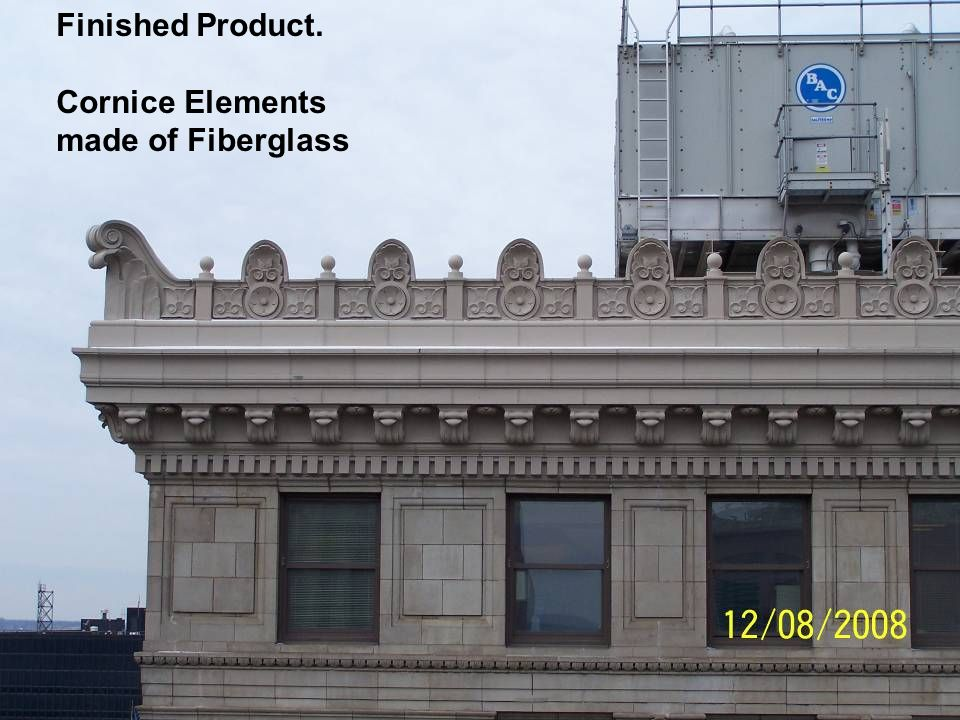 A Terminal Transaction – Exterior Renovation Finished Product. Cornice Elements made of Fiberglass