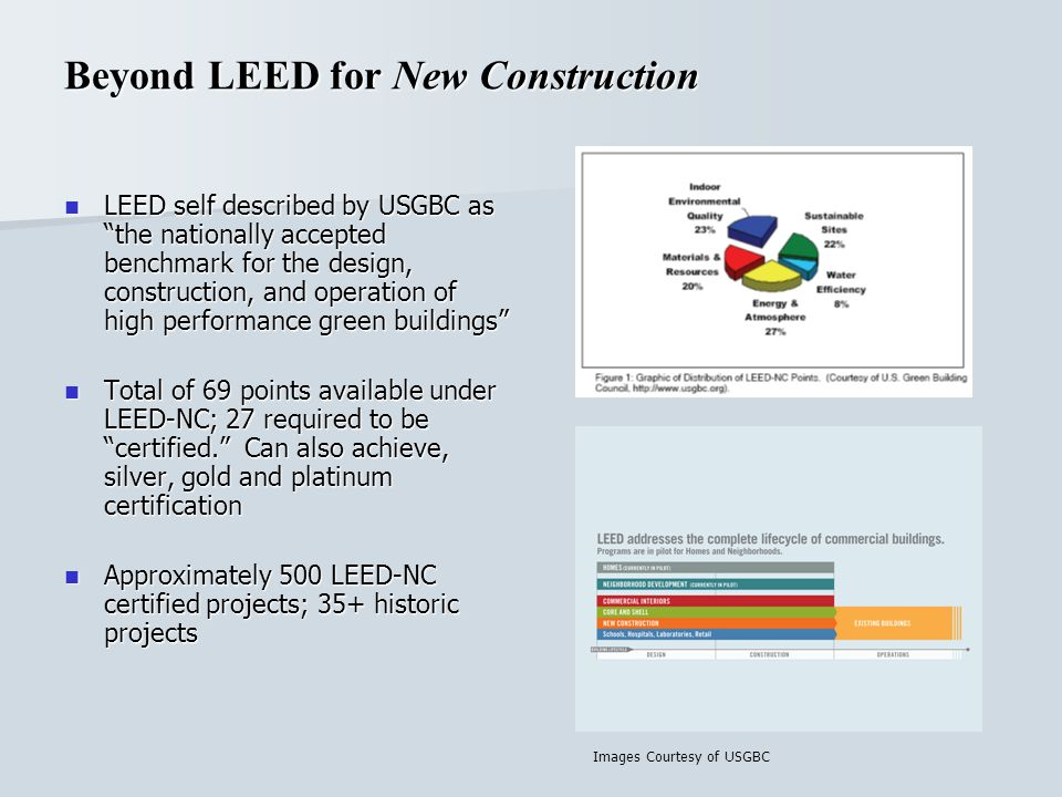 Beyond LEED for New Construction LEED self described by USGBC as the nationally accepted benchmark for the design, construction, and operation of high performance green buildings LEED self described by USGBC as the nationally accepted benchmark for the design, construction, and operation of high performance green buildings Total of 69 points available under LEED-NC; 27 required to be certified.