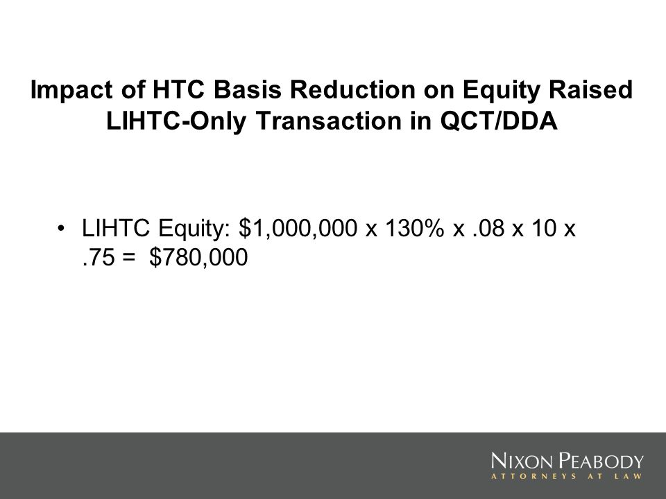 Impact of HTC Basis Reduction on Equity Raised LIHTC-Only Transaction in QCT/DDA LIHTC Equity: $1,000,000 x 130% x.08 x 10 x.75 = $780,000