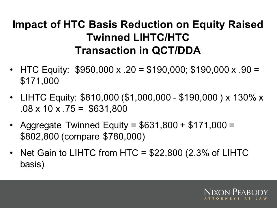 Impact of HTC Basis Reduction on Equity Raised Twinned LIHTC/HTC Transaction in QCT/DDA HTC Equity: $950,000 x.20 = $190,000; $190,000 x.90 = $171,000 LIHTC Equity: $810,000 ($1,000,000 - $190,000 ) x 130% x.08 x 10 x.75 = $631,800 Aggregate Twinned Equity = $631,800 + $171,000 = $802,800 (compare $780,000) Net Gain to LIHTC from HTC = $22,800 (2.3% of LIHTC basis)
