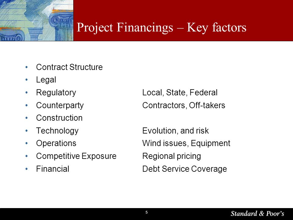 5 Project Financings – Key factors Contract Structure Legal RegulatoryLocal, State, Federal CounterpartyContractors, Off-takers Construction Technolog