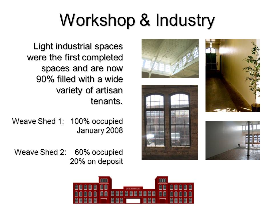 Workshop & Industry Light industrial spaces were the first completed spaces and are now 90% filled with a wide variety of artisan tenants. Weave Shed