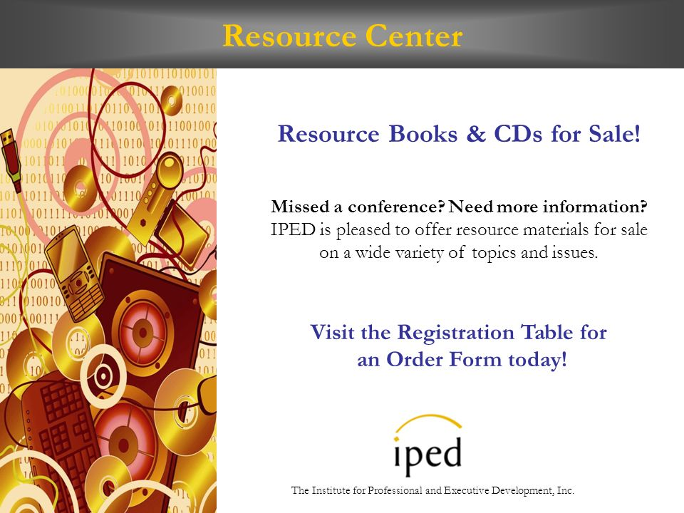 Resource Center Resource Books & CDs for Sale. Missed a conference.