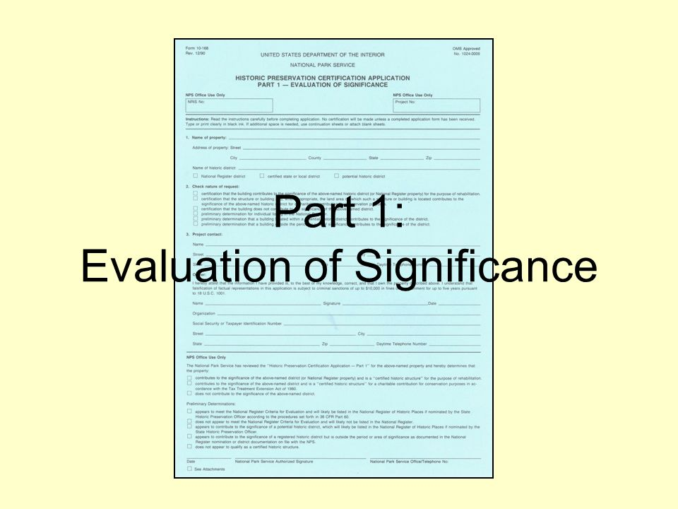 Part 1: Evaluation of Significance