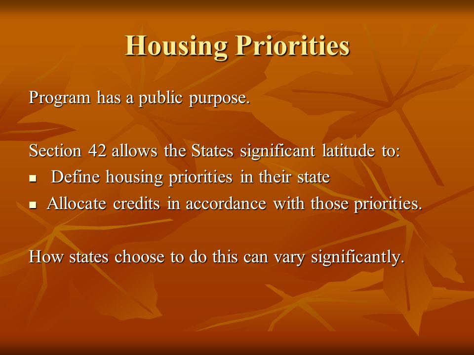 Housing Priorities Program has a public purpose.