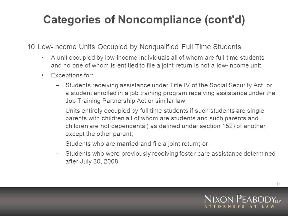 11 Categories of Noncompliance (cont'd) 10.Low-Income Units Occupied by Nonqualified Full Time Students A unit occupied by low-income individuals all
