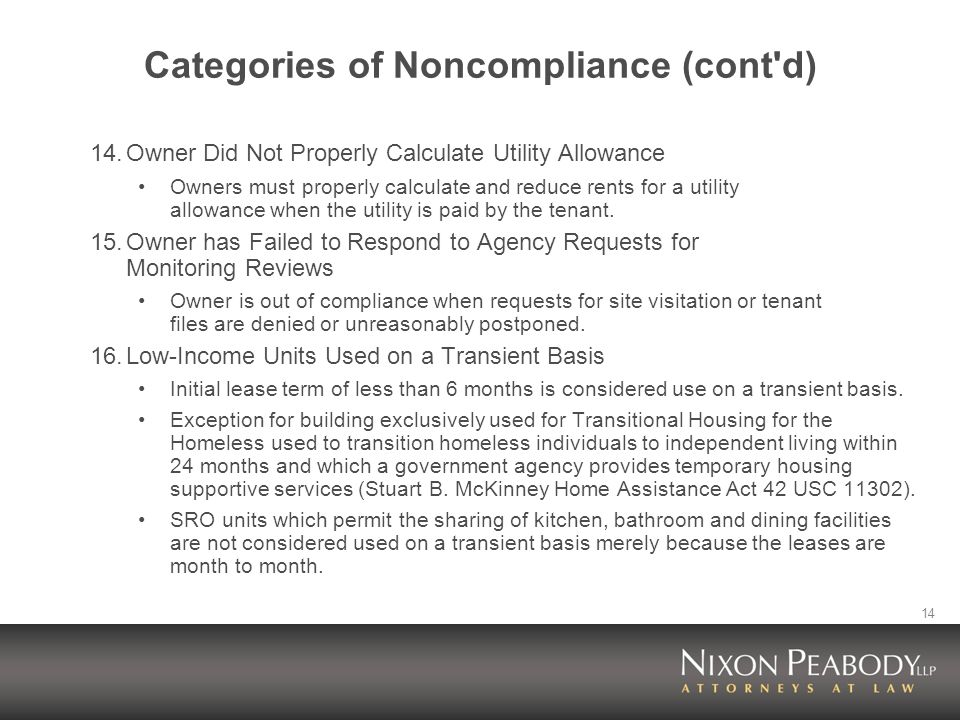 14 Categories of Noncompliance (cont d) 14.Owner Did Not Properly Calculate Utility Allowance Owners must properly calculate and reduce rents for a utility allowance when the utility is paid by the tenant.