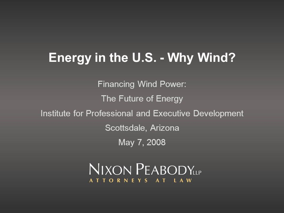 Energy in the U.S. - Why Wind.