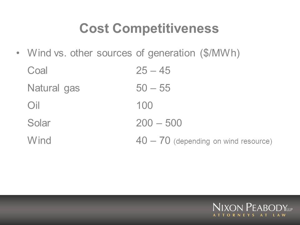 Cost Competitiveness Wind vs. other sources of generation ($/MWh) Coal25 – 45 Natural gas50 – 55 Oil100 Solar200 – 500 Wind40 – 70 (depending on wind