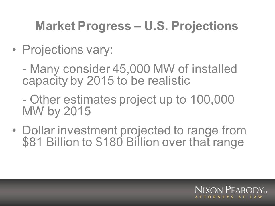 Market Progress – U.S. Projections Projections vary: - Many consider 45,000 MW of installed capacity by 2015 to be realistic - Other estimates project