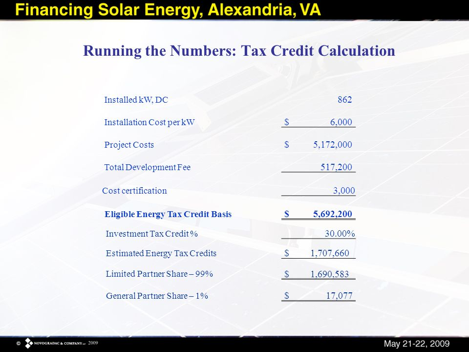 Running the Numbers: Tax Credit Calculation Investment Tax Credit % 30.00% Estimated Energy Tax Credits $1,707,660 Limited Partner Share – 99% $1,690,583 General Partner Share – 1% $ 17,077 Installed kW, DC 862 Installation Cost per kW $6,000 Project Costs $5,172,000 Total Development Fee 517,200 Cost certification 3,000 Eligible Energy Tax Credit Basis $5,692,200