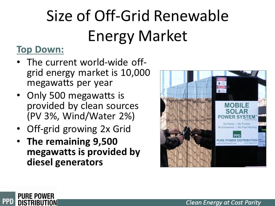 Clean Energy at Cost Parity Size of Off-Grid Renewable Energy Market Top Down: The current world-wide off- grid energy market is 10,000 megawatts per
