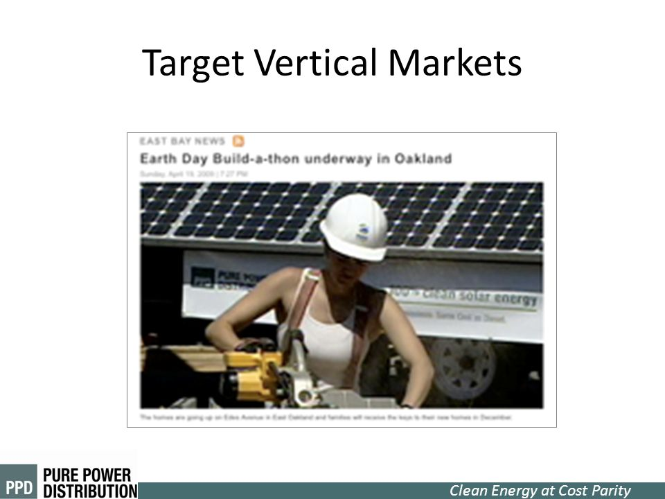 Clean Energy at Cost Parity Target Vertical Markets