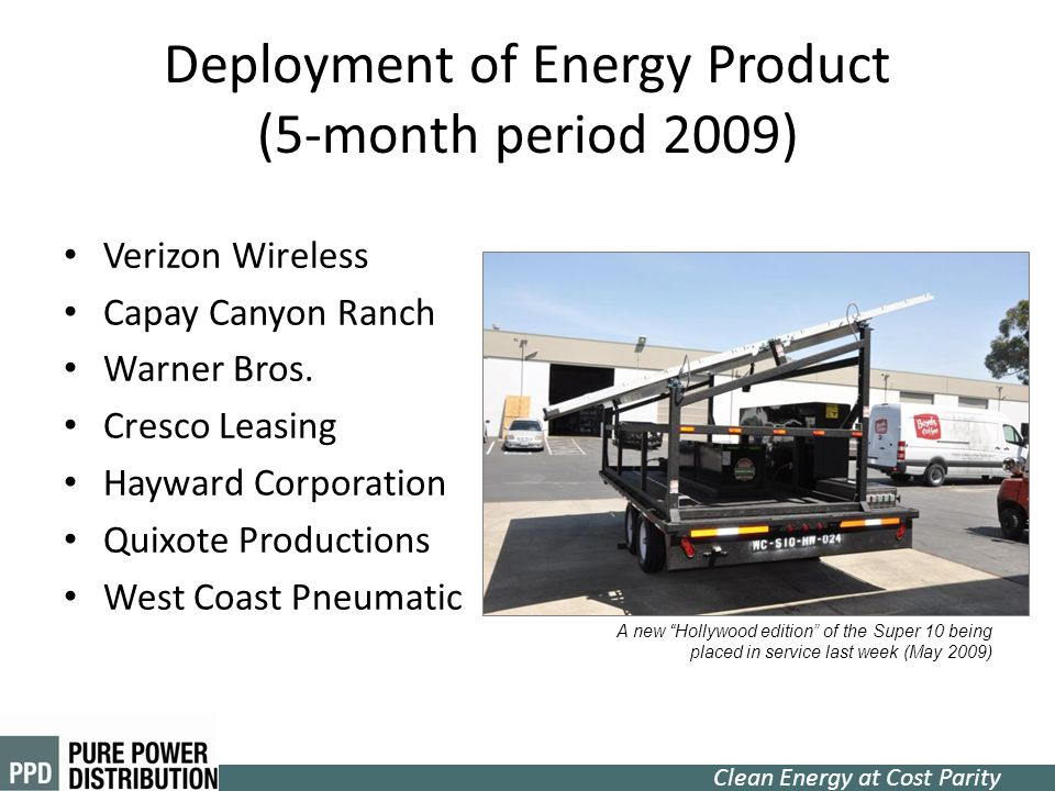 Clean Energy at Cost Parity Deployment of Energy Product (5-month period 2009) Verizon Wireless Capay Canyon Ranch Warner Bros. Cresco Leasing Hayward