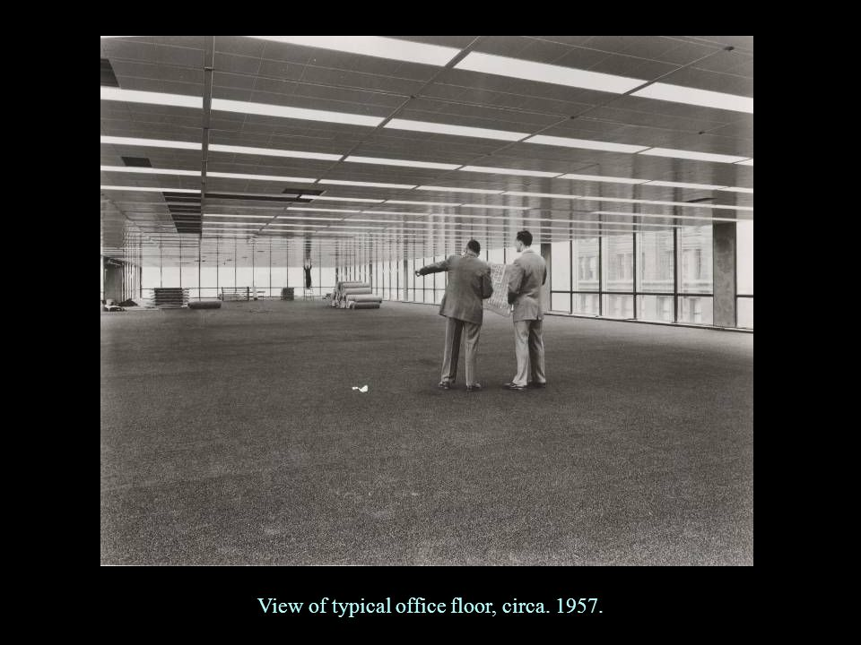 View of typical office floor, circa. 1957.