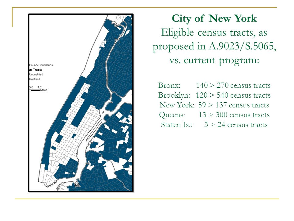 City of New York Eligible census tracts, as proposed in A.9023/S.5065, vs. current program: Bronx: 140 > 270 census tracts Brooklyn: 120 > 540 census