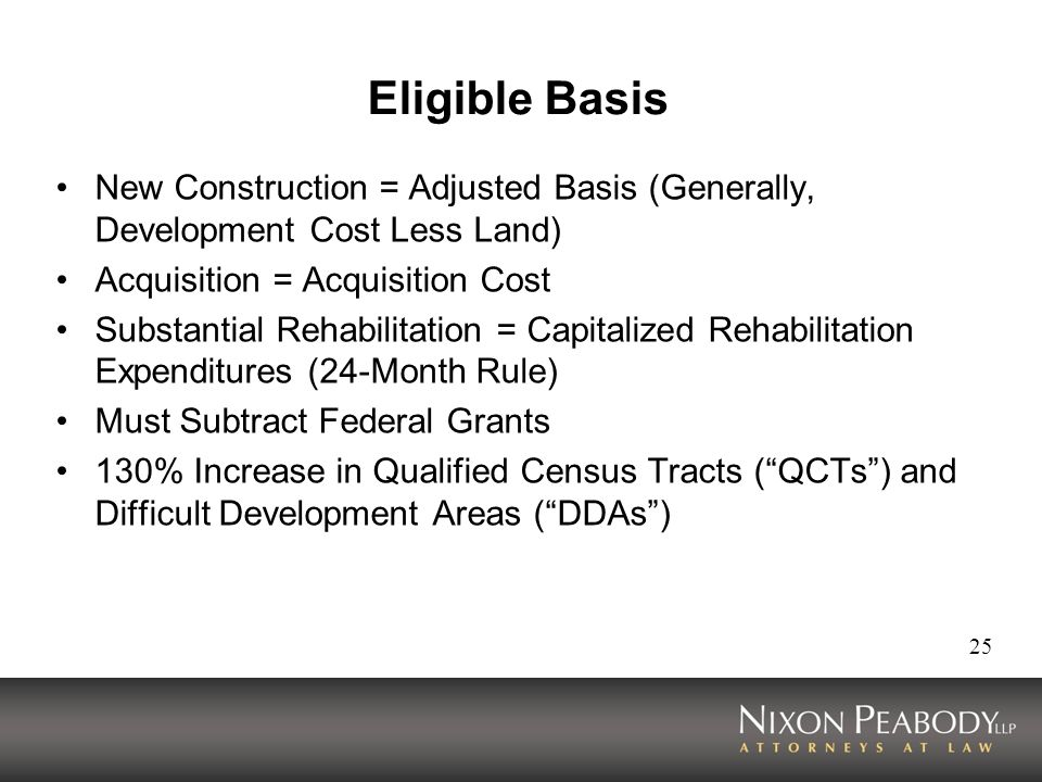 25 Eligible Basis New Construction = Adjusted Basis (Generally, Development Cost Less Land) Acquisition = Acquisition Cost Substantial Rehabilitation = Capitalized Rehabilitation Expenditures (24-Month Rule) Must Subtract Federal Grants 130% Increase in Qualified Census Tracts (QCTs) and Difficult Development Areas (DDAs)