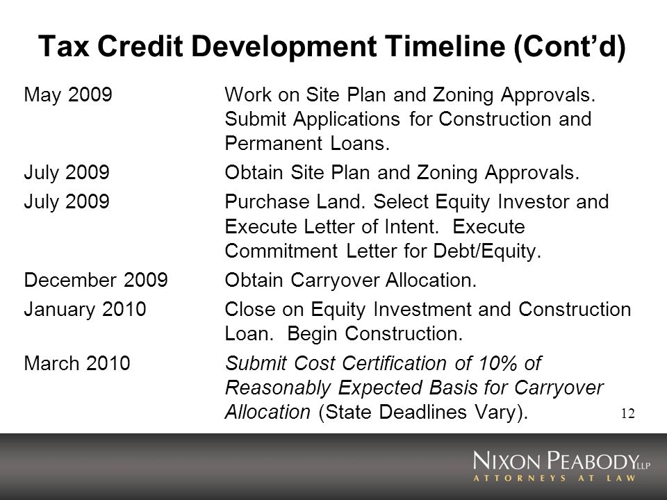 12 Tax Credit Development Timeline (Contd) May 2009Work on Site Plan and Zoning Approvals.